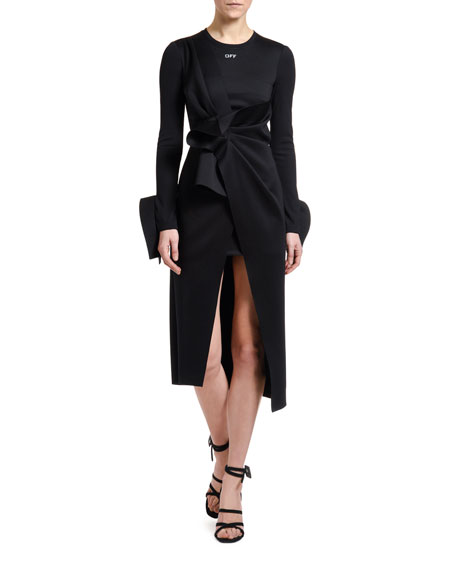 Jersey Wrapped Tie-Front Midi Shirtdress