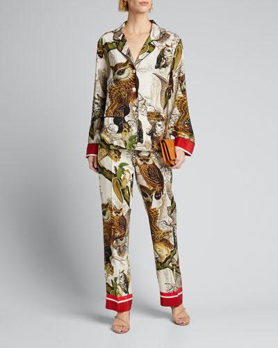 Owl Print Straight-Leg Silk Pajama Pants