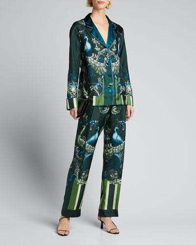 Peacock-Print Long-Sleeve Pajama Top