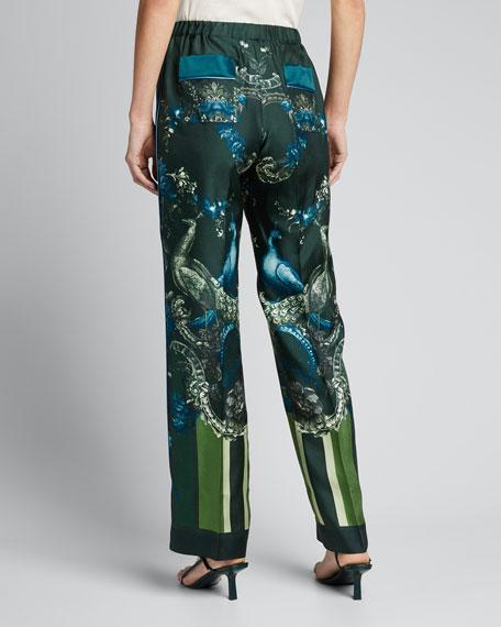 Peacock-Print Pajama Pants