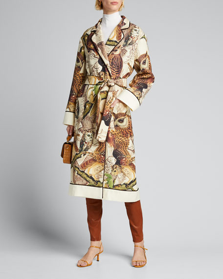 Owl Print Belted Wool Robe