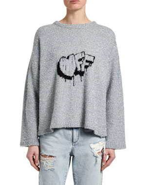 Off-White Fuzzy Logo-Intarsia Crewneck Sweater