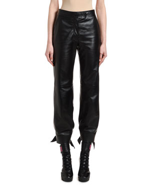 Off-White Leather High-Waist Bow Pants