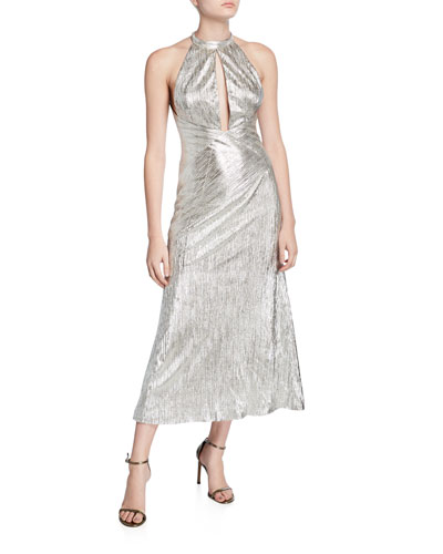 Metallic Jersey Halter-Neck Dress