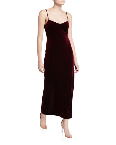 Velvet Spaghetti-Strap V-Neck Dress