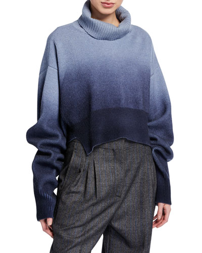 Dip-Dyed Wool Button-Sleeve Sweater