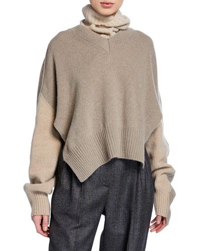 Trompe l'Oeil Turtleneck/V-Neck Sweater