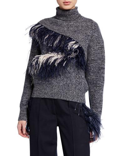 Feather-Trim Turtleneck Sweater