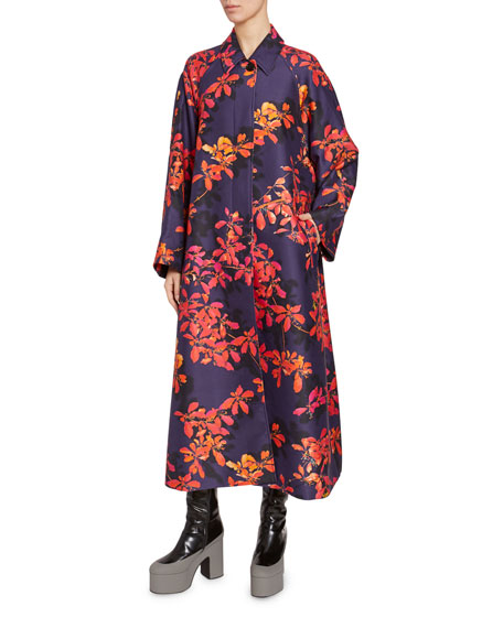 Floral Print Nylon Long Coat