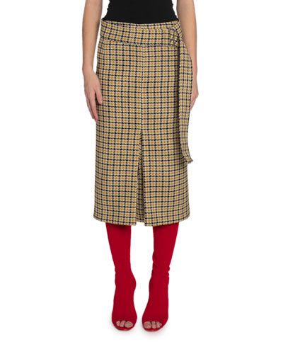 Houndstooth Box-Pleated Skirt