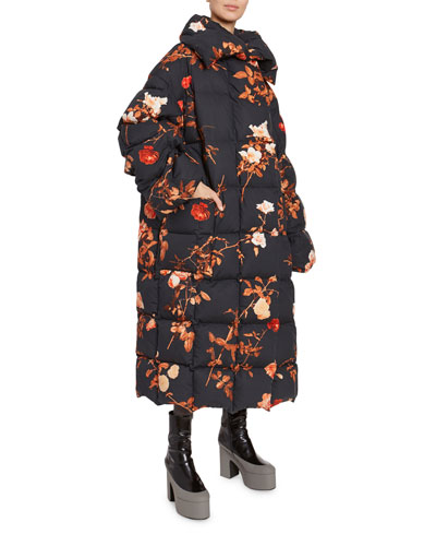 Floral-Print Quilted Oversized Coat