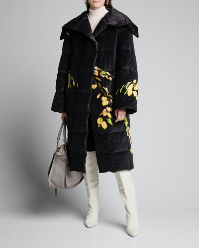 Leaf Print Quilted Velvet Coat