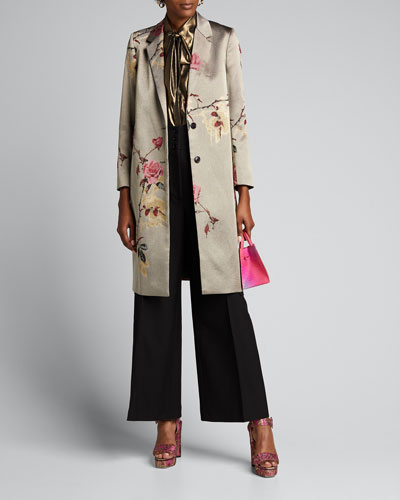Metallic Floral-Print Coat