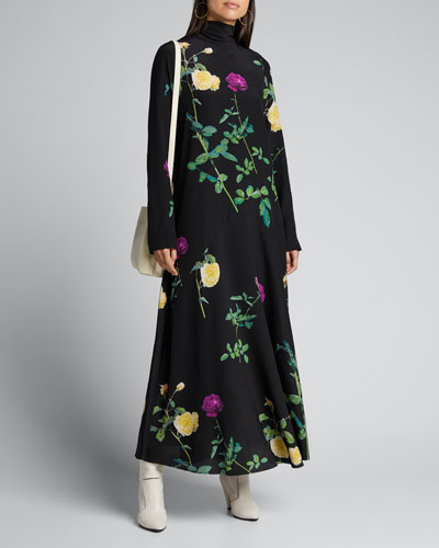 Floral High-Neck Silk Dress