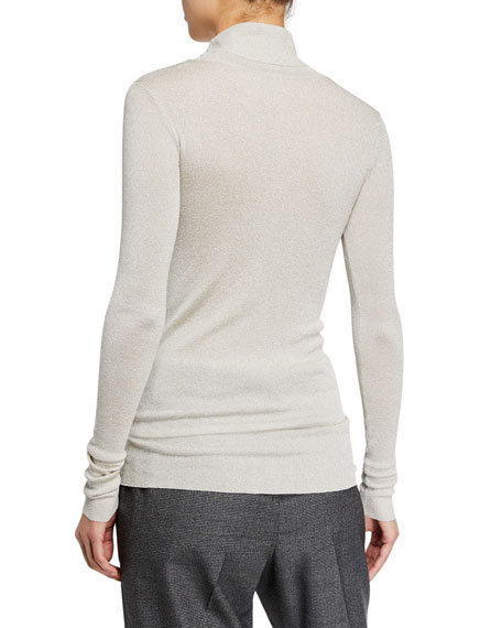 Sparkling Jersey Turtleneck Top