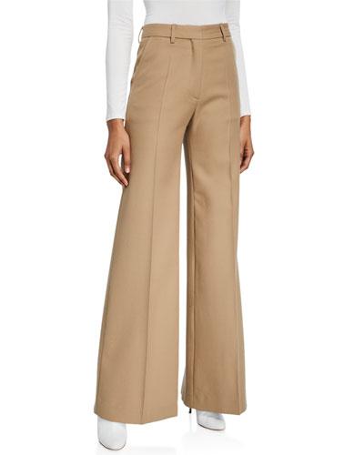 Wool-Blend Flare-Leg Pants