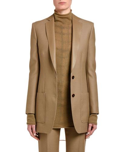 Leather-Trim Wool Gabardine Jacket