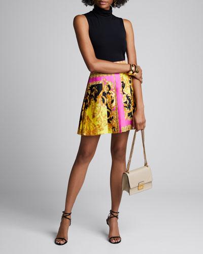 Pleated Barocco Print Silk Skirt