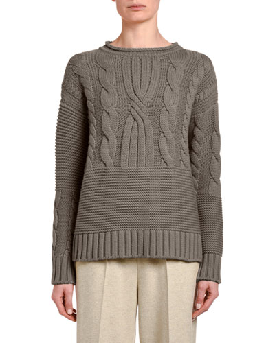 Mixed Cable-Knit Cashmere Sweater