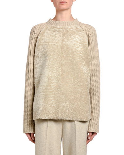 Ribbed Cashmere Shearling-Front Sweater