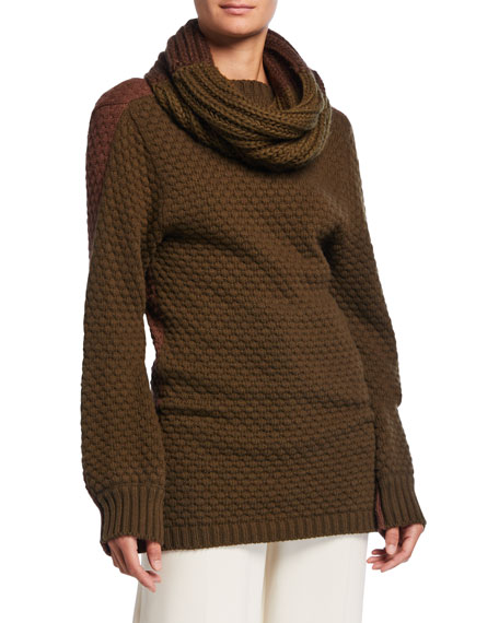 Image 1 of 1: Ribbed Sweater w/ Removable Self Scarf