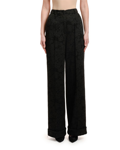 Rose Stretch-Jacquard Wide-Leg Pants