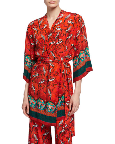 Najima Peacock Print Short Robe