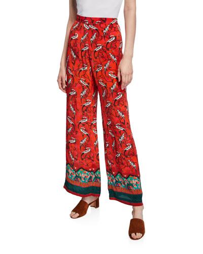 Najima Peacock-Print Pajama Pants