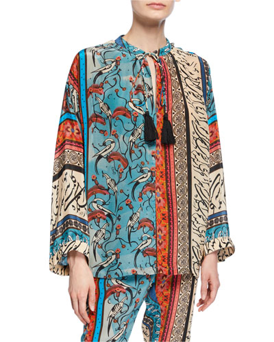Alqamar Wide-Sleeve Patchwork Blouse
