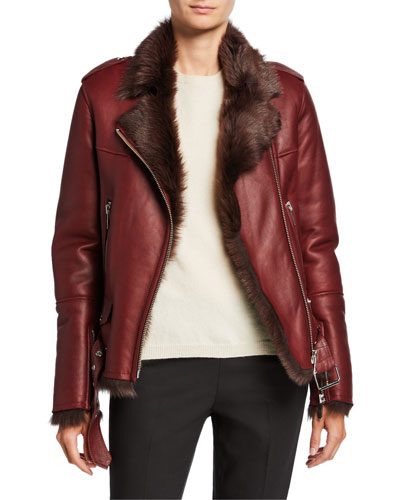 Bordeaux Toscana Fur-Lined Moto Jacket