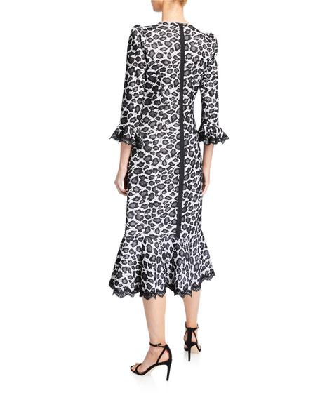 Animal-Print High-Neck Flared Dress