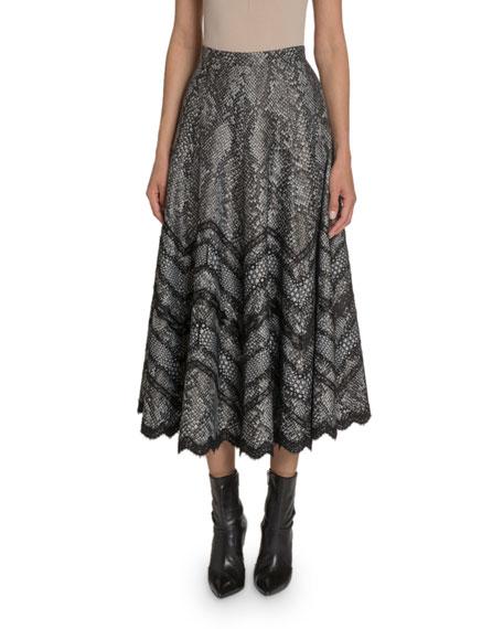 Snake-Print Jersey Midi Skirt