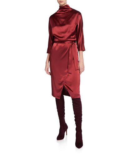 Satin High-Neck 3/4-Sleeve Belted Dolman Dress