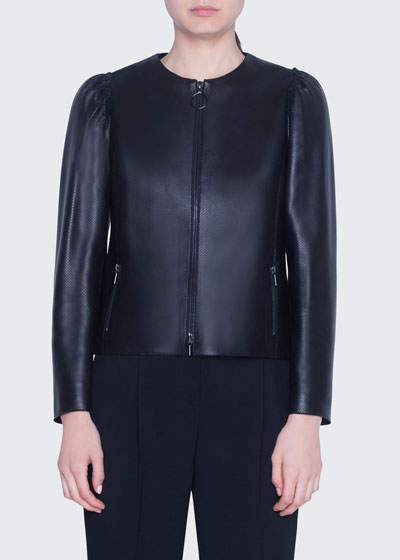 Perforated Leather Zip-Front Jacket