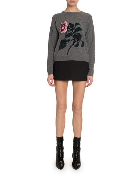 Cashmere-Wool Rose-Embroidered Sweater