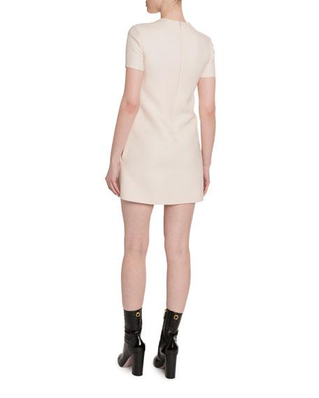Rose-Print Crepe Short-Sleeve Dress