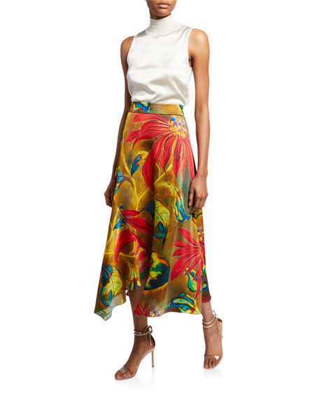 Floral High-Rise Asymmetric Skirt