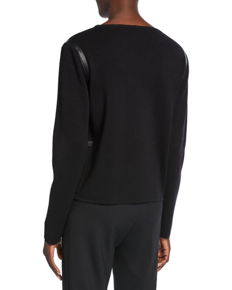 Periodi Leather-Trim Wool Sweater
