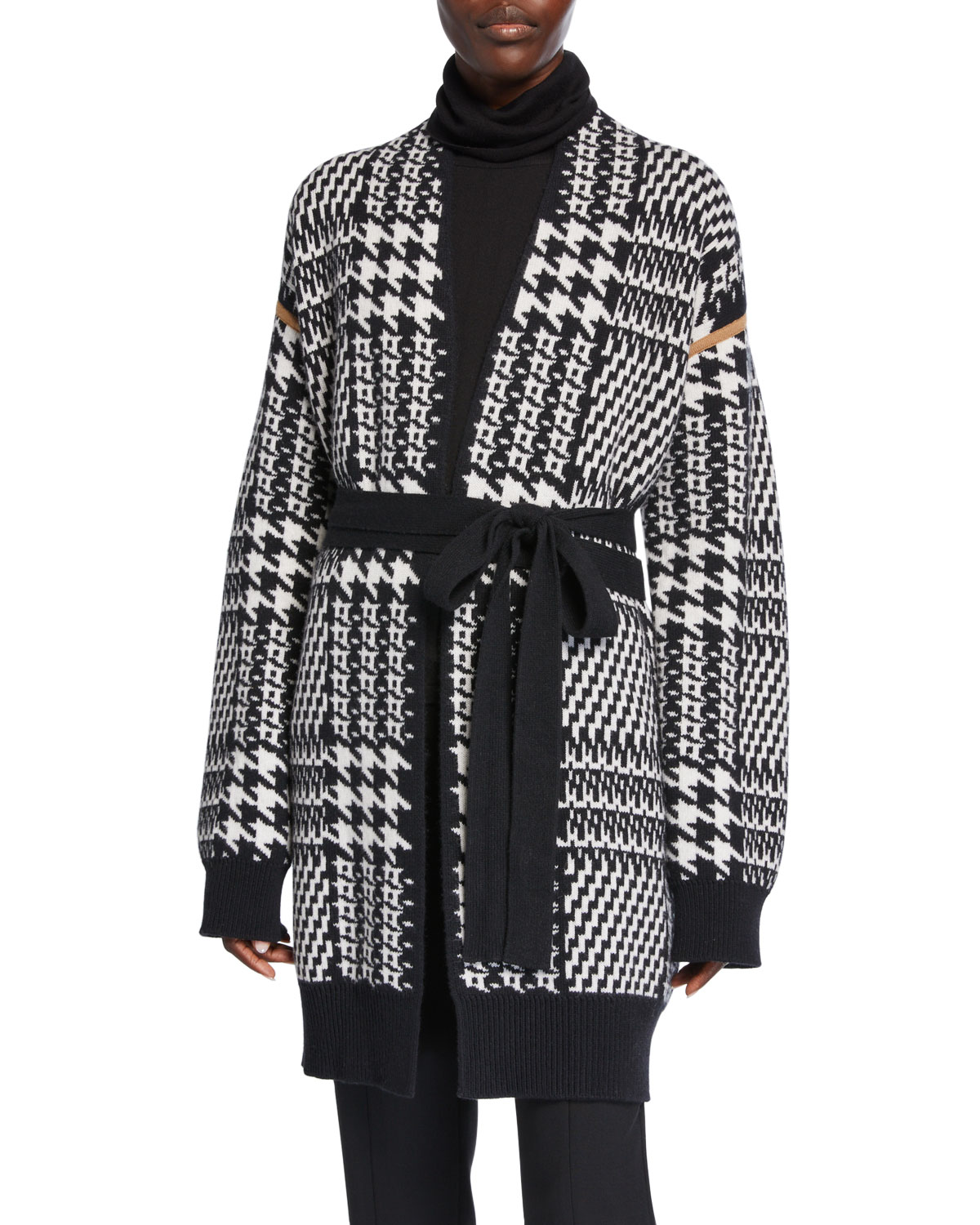 Malizia Houndstooth Wool And Cashmere Blend Cardigan In Black by Max Mara
