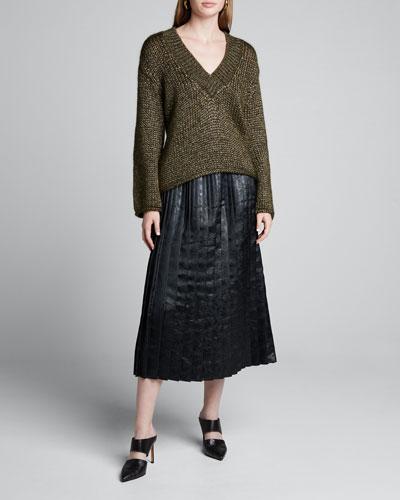 Floral-Jacquard Pleated Midi Skirt