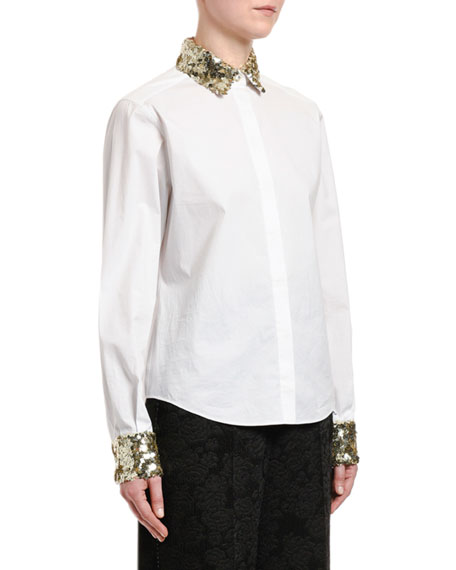 Sequined-Trim Poplin Button-Front Blouse