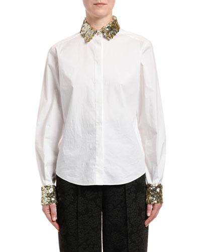 Sequined-Trim Poplin Button-Front Blouse