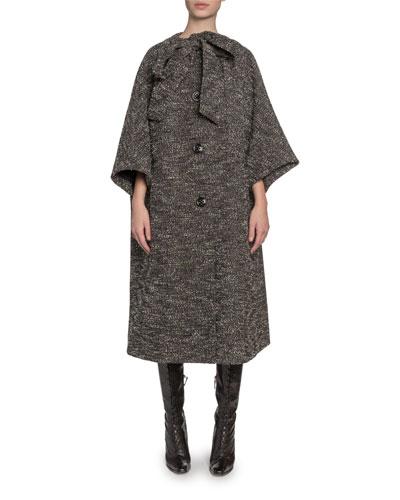 Tweed Tie-Neck Oversized Coat