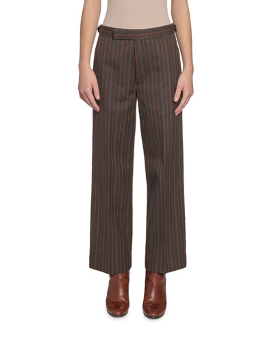 Striped Straight-Leg Pants
