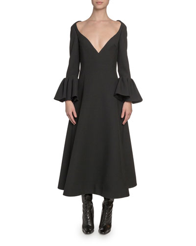 Wool Wide-Neck Bell-Cuff Dress