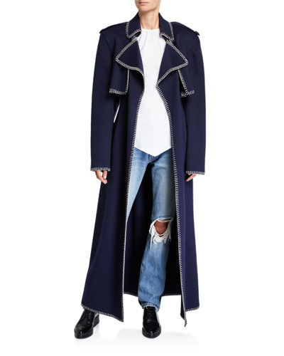 Roman Wool Trench Coat w/ Whipstitched Trim