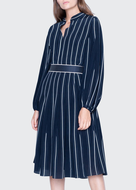 Striped Silk Banded-Collar Dress