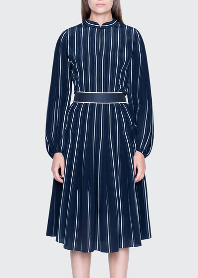 Striped Silk Banded-Collar Dress