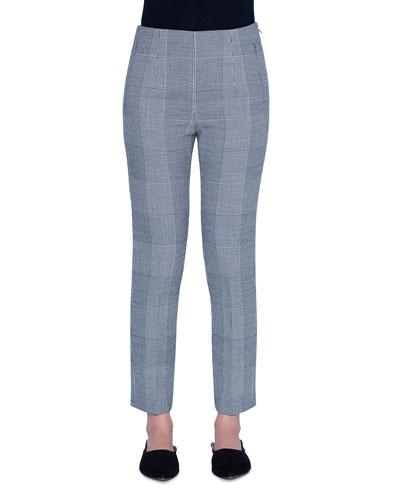 Plaid Denim Crop Pants