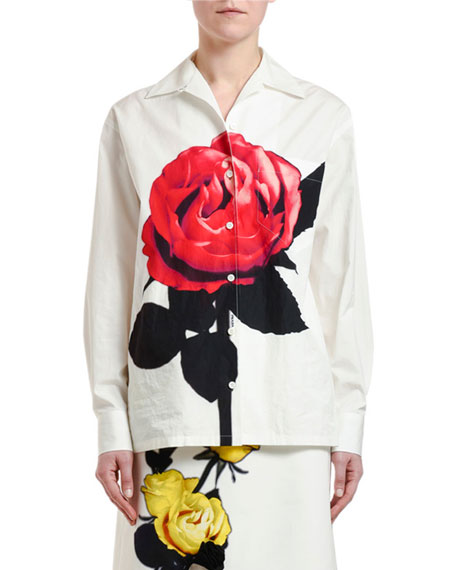 Image 1 of 1: Beauty Rose-Print Button-Front Shirt